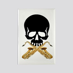 Skull with Saxophones Rectangle Magnet