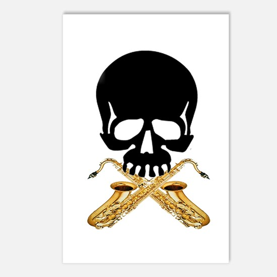 Skull with Saxophones Postcards (Package of 8)