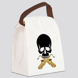 Skull with Saxophones Canvas Lunch Bag