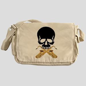 Skull with Saxophones Messenger Bag