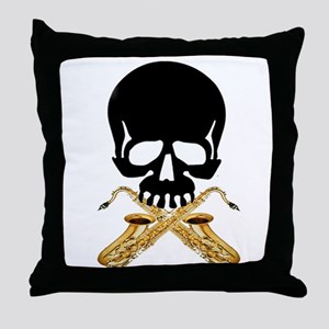 Skull with Saxophones Throw Pillow