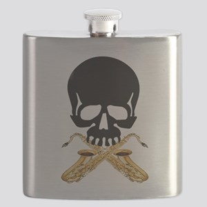 Skull with Saxophones Flask