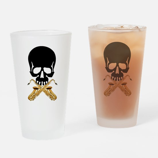 Skull with Saxophones Drinking Glass
