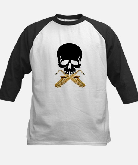 Skull with Saxophones Baseball Jersey