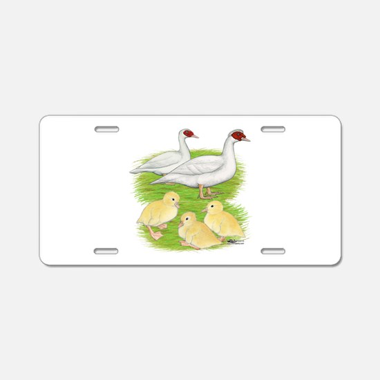 Duck White Muscovy Family Aluminum License Plate