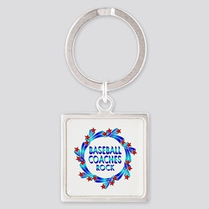 Baseball Coaches Rock Square Keychain