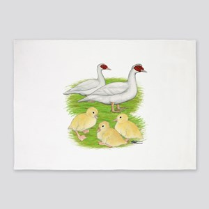 Duck White Muscovy Family 5'x7'Area Rug