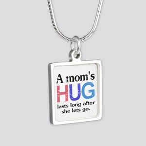 A Moms Hug Silver Square Necklace