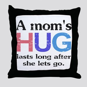 A Moms Hug Throw Pillow