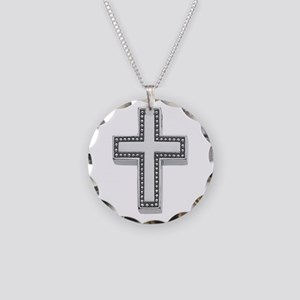 Silver Cross/Christian Necklace Circle Charm