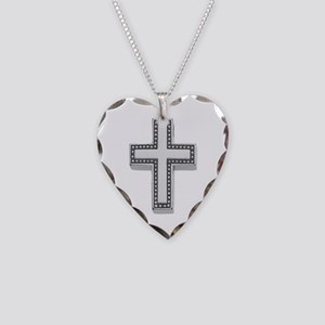 Silver Cross/Christian Necklace Heart Charm