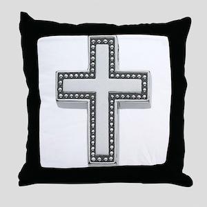 Silver Cross/Christian Throw Pillow