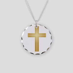 Gold Cross/Christian Necklace Circle Charm