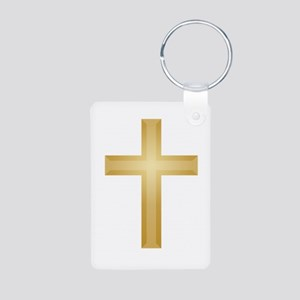 Gold Cross/Christian Aluminum Photo Keychain