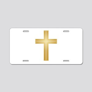 Gold Cross/Christian Aluminum License Plate