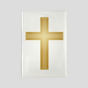 Gold Cross/Christian Rectangle Magnet