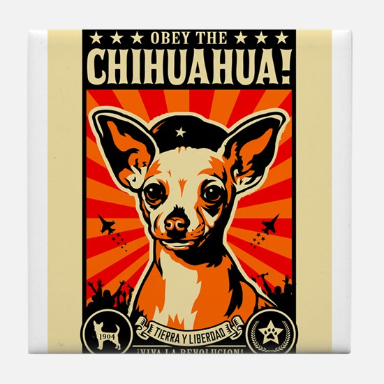Unique Obey the chihuahua Tile Coaster