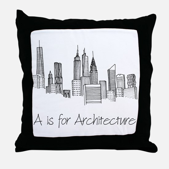 A is for Architecture Skyline Throw Pillow