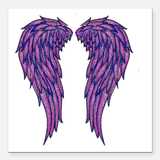 "Angel Wings Square Car Magnet 3"" x 3"""