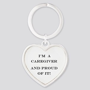 I'm a caregiver and proud of it! Heart Keychain