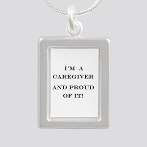 I'm a caregiver and prou Silver Portrait Necklace
