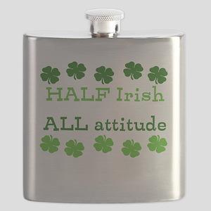 HALF irish, ALL attitude Flask