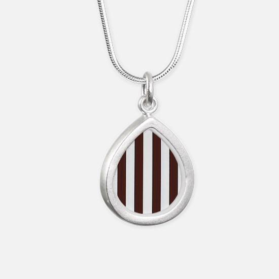 Dark brown and white stripes Silver Teardrop Neckl
