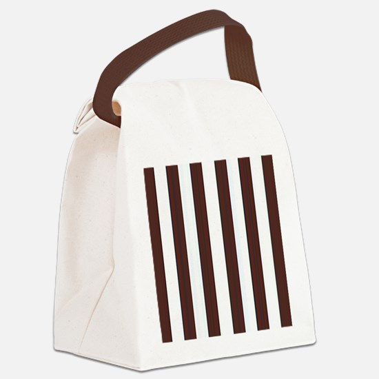 Dark brown and white stripes Canvas Lunch Bag