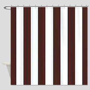 Dark Brown And White Stripes Shower Curtain