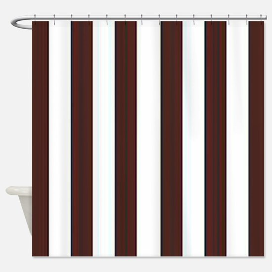 Dark brown and white stripes Shower Curtain