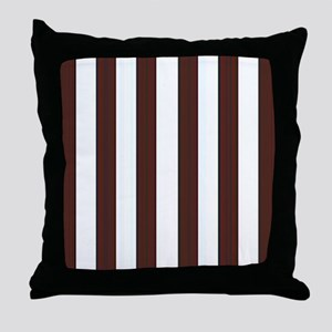 Dark brown and white stripes Throw Pillow