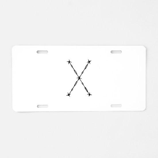 Barbed Wire Monogram X Aluminum License Plate