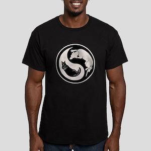 Dog-Cat Yin-Yang Men's Fitted T-Shirt (dark)