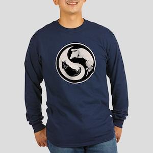 Dog-Cat Yin-Yang Long Sleeve Dark T-Shirt