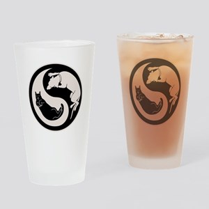 Dog-Cat Yin-Yang Drinking Glass