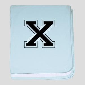 Collegiate Monogram X baby blanket