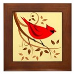 Red Cardinal Art Framed Tile