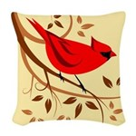 Red Cardinal Woven Throw Pillow