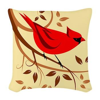 Red Cardinal Woven Throw Pillow