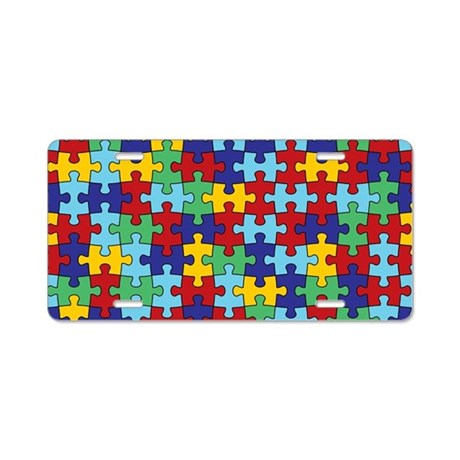 Autism Awareness Puzzle Piece Pattern Aluminum Lic