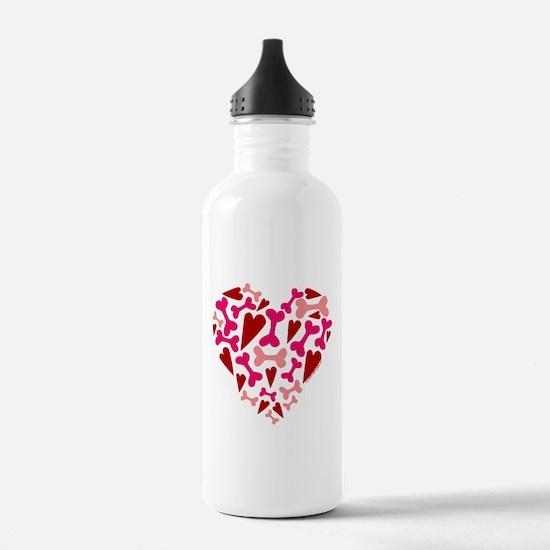 Modern Dog Lover Hearts Bones Water Bottle