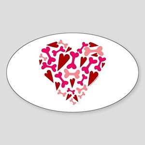 Modern Dog Lover Hearts Bones Sticker