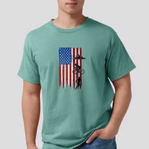 USA Flag Team Triathlon Mens Comfort Colors Shirt