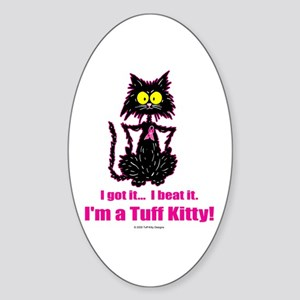 BREAST CANCER Cat - Oval Sticker