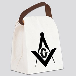 Outline Square and Compass Canvas Lunch Bag