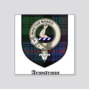 "Armstrong Clan Crest Tartan Square Sticker 3"" x 3"""