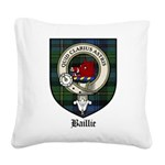 Baillie Clan Crest Tartan Square Canvas Pillow