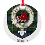Baillie Clan Crest Tartan Round Ornament