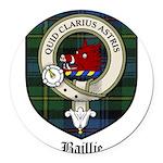 Baillie Clan Crest Tartan Round Car Magnet