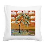 Tangerine Tree Square Canvas Pillow